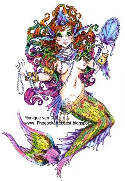 Mermaid with Mirror digi stamp
