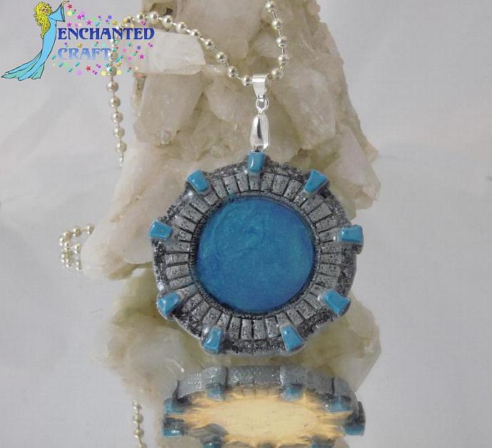 hand sculpted STARGATE Poly-clay necklace for Stargate Atlantis Fans & those who