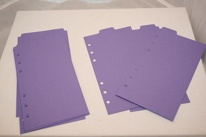 12 Lilac  heavy cardstock Top Tab monthly dividers for Filofax Personal FF102