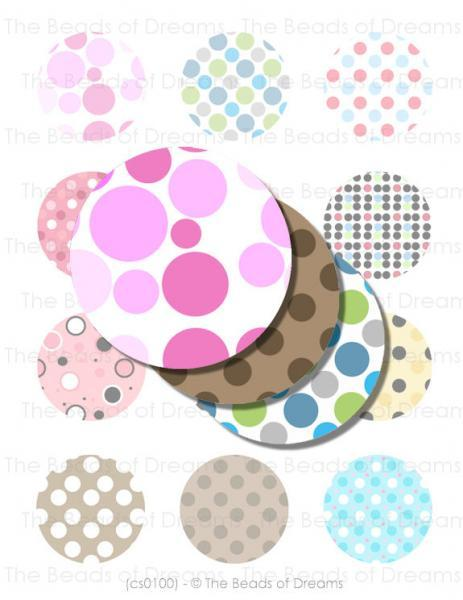 2 inches polka dots round 50mm - Printable digital collage sheet - for pendants
