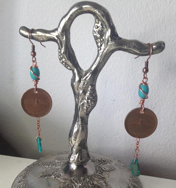Copper Penny Centennial Earrings