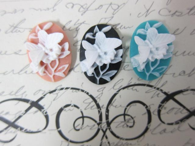 3pc Butterfly Cameo - 18mm  Mix Colors stl