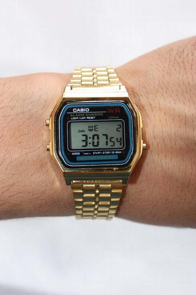74bff2c69c0 Gold Retro Casio Vintage Style Black Face Metal Band Digital A-159W Watch