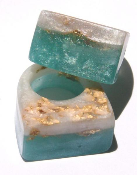 RESIN RING Sea Blue and Mother of Pearl Resin SLAM GLAM ROCK Ring, Ocean Wave