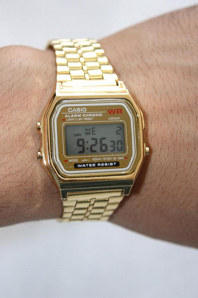 1fb3485a4540 Gold Retro Casio Vintage Style Gold Face Metal Band Digital A-159W Watch
