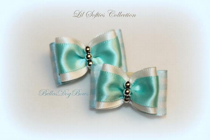 """SET - 7/8"""" Sweet Aqua Piggie-tail Bows from our Lil Softies Collection 2pcs."""