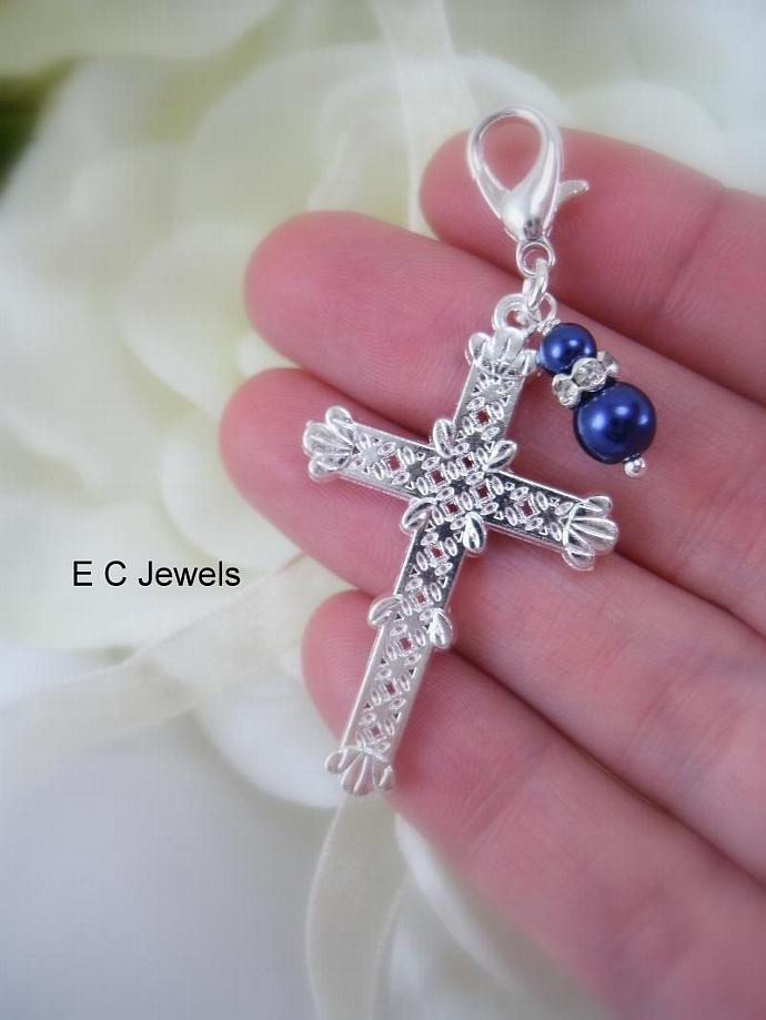 Bridal Bouquet Cross - Something Blue