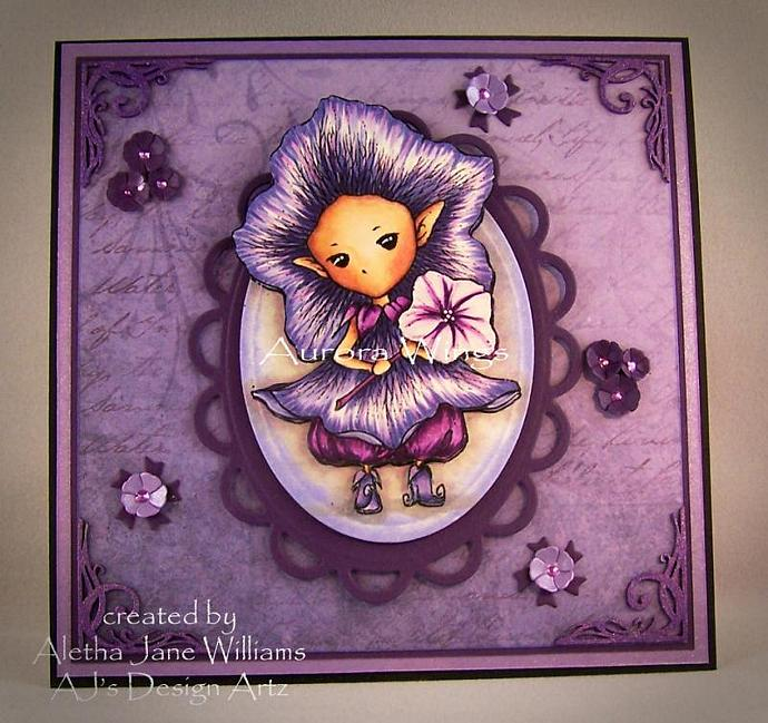 Petunia Sprite Handmade Fantasy OOAK Art Card by AJ's Designs