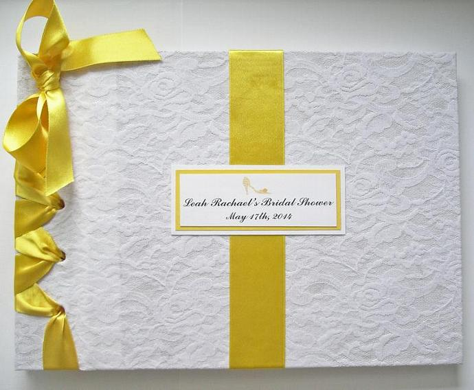 lace bridal shower guest book yellow white wedding guestbook vintage lace