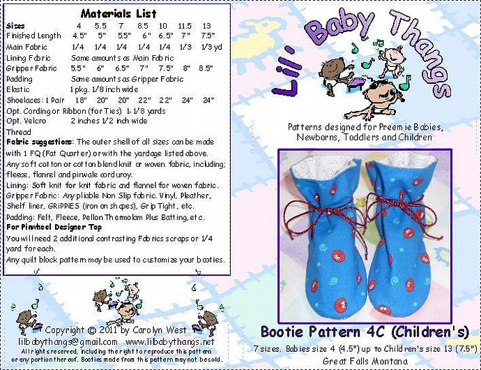 """Terra Verde """"TV"""" Bootie Sewing Pattern C, 7 Children's Sizes 4 - 13, PDF"""