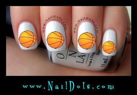 Basketball nail art water slide nail decals by naildots on zibbet basketball nail art water slide nail decals prinsesfo Choice Image