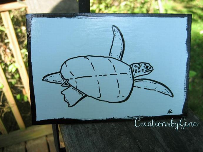 Sea Turtle OSWOA painting 4x6 mini Turtle art ,marine life,under the sea art
