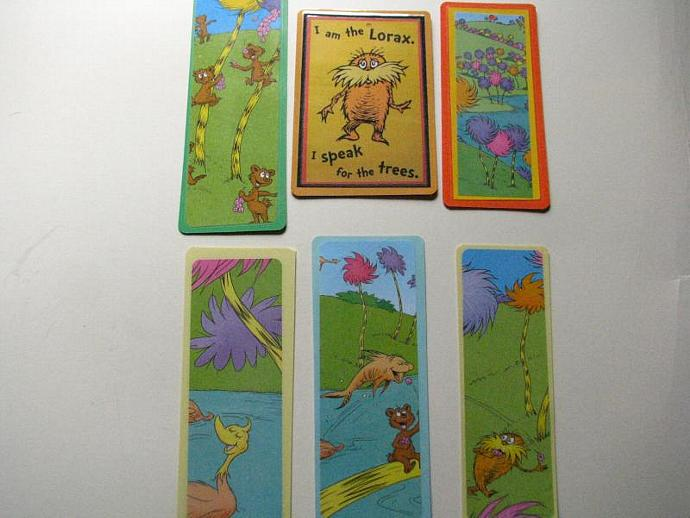REDUCED - The Lorax - Set of 6 Bookmarks- Ready for your child's favorite book