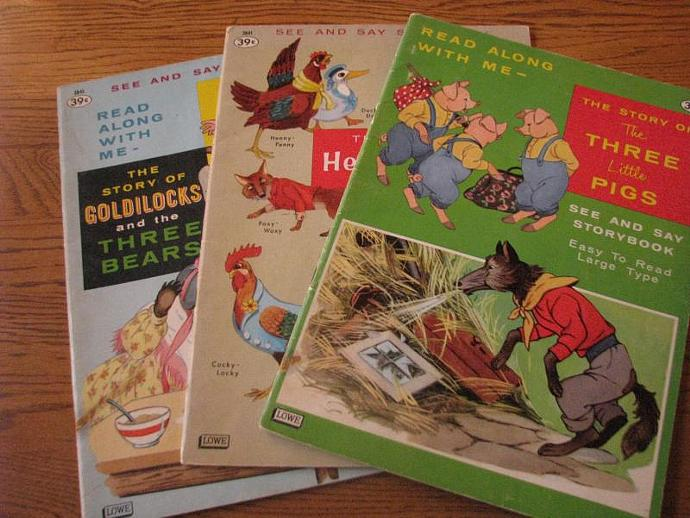 1962 See and Say Storybooks- Read Along with Me- Goldilocks- Henny Penny and The