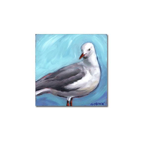 Seagull Painting, Seabird Original Art 4x4 Inches Beach Memories, Small Seashore