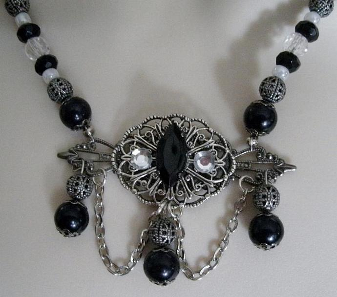 Night Serenade Necklace, victorian jewelry gothic necklace art nouveau