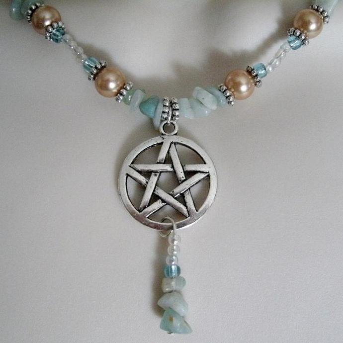 Madrugada Dawn Pentacle Necklace, wiccan pagan jewelry wicca witch witchcraft