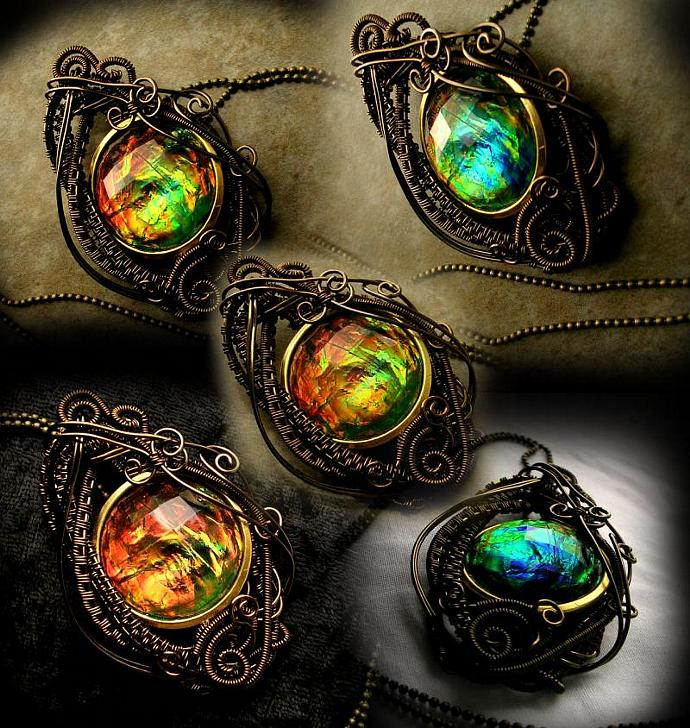 CUSTOM ORDER AVAILABLE - Steampunk Teardrop - Wire Wrapped Bronze Color Shifting