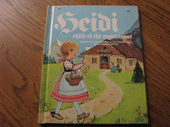 "Wonder Book 1977- "" HEIDI "" child of the Mountains- by Johanna Spyri illustrated"