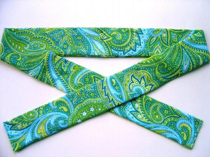 Green and Blue  Paisley Neck Cooler, Cool Tie, Cool Band