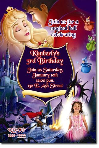 SLEEPING BEAUTY BIRTHDAY INVITATIONS (Download JPG Immediately)
