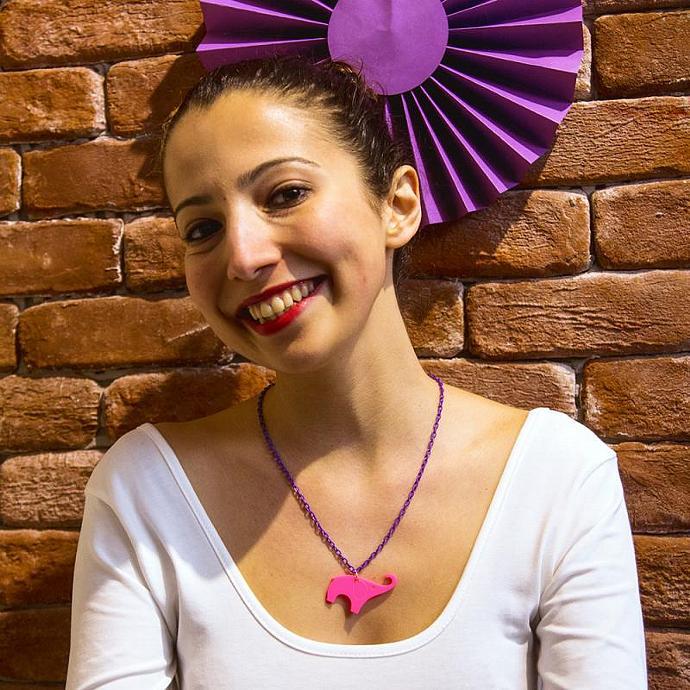 Hot Pink Elephant Necklace,Plexiglass Jewelry,Elephant Jewelry,Gifts Under 25