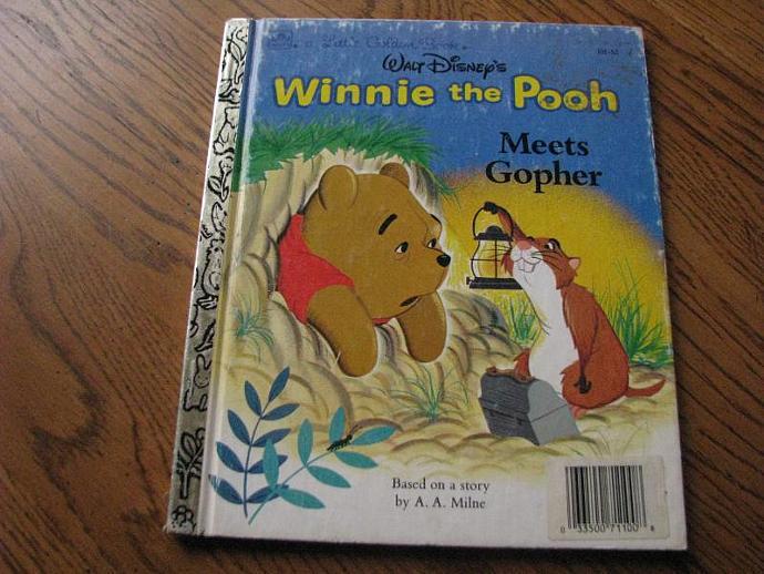 """A Little Golden Book Walt Disney's """" Winnie the Pooh Meets Gopher"""""""