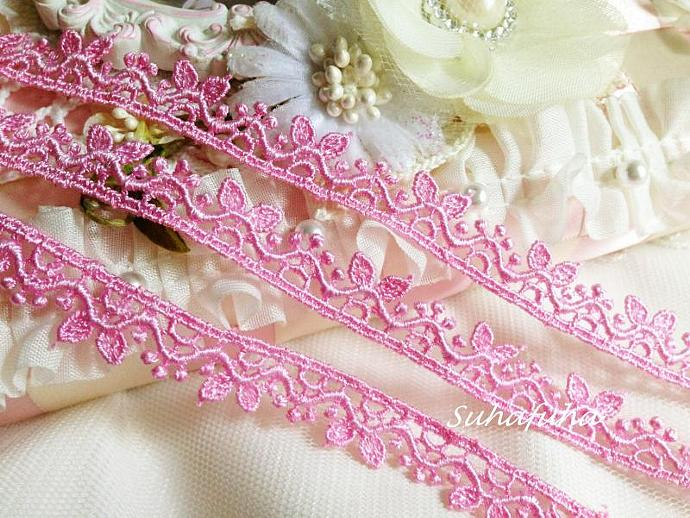 "3 yards PINK Venise Lace Cute Leaves 1/2"" inch for scrapbooking crafts Victorian"
