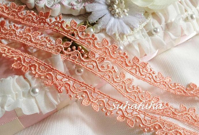 "3 yards Dark PEACH Venise Lace Cute Leaves 1/2"" inch for scrapbooking, crafts,"