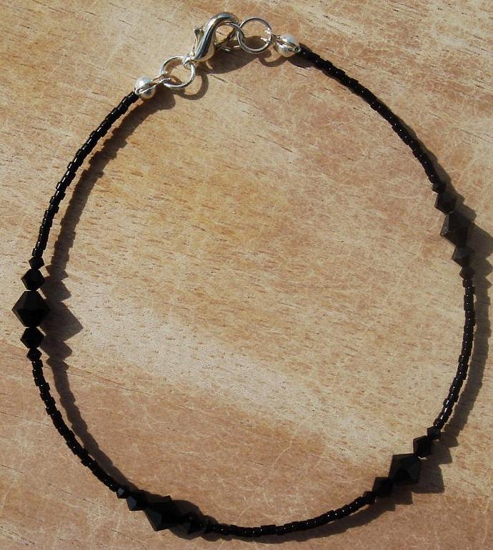 Black Swarovski Crystal Anklet