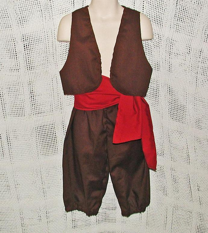 Boy's Pirate Costume Vest, Sash, Britches