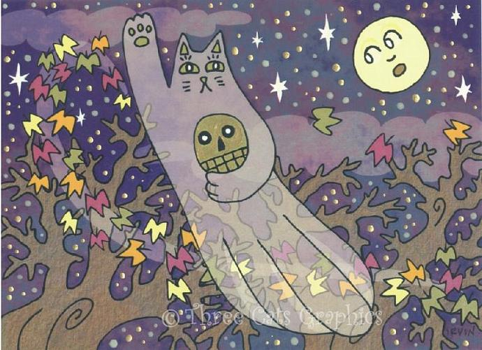 Maneki Neko Ghost Cat Luck of Eternity on an Autumn Night ACEO Print