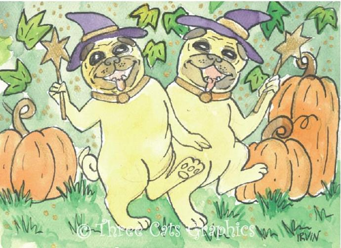 A Bewitching Pair of Pugs ACEO Print