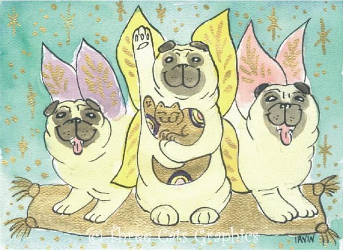 Flight of the Lucky Fairy Pugs ACEO Print