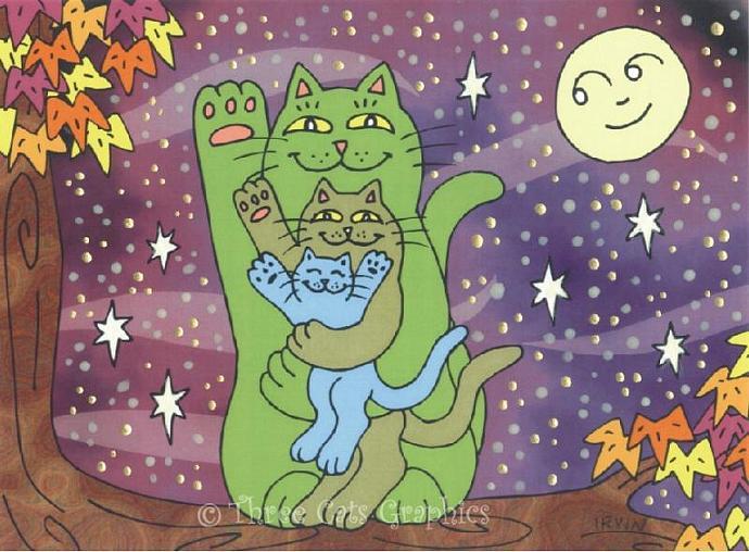 Healthy, Wealthy, & Wise Maneki Neko Cats on an Autumn Night ACEO Print