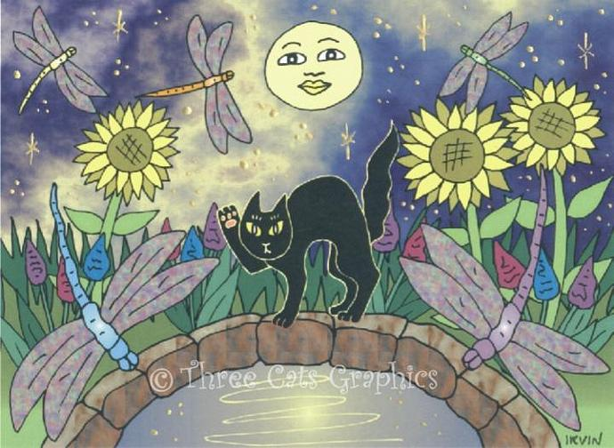 Black Cat in the Midnight Garden of Dragonflies ACEO Print