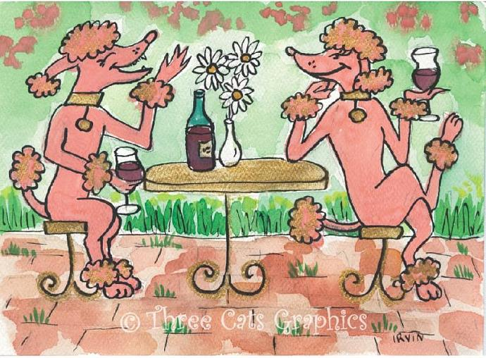 A Friendly Glass of Claret Wine with Pink Poodles ACEO Print