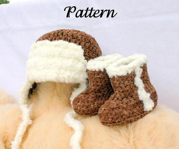 Baby aviator hat and boots PDF crochet pattern 0-3 months brown white newborn