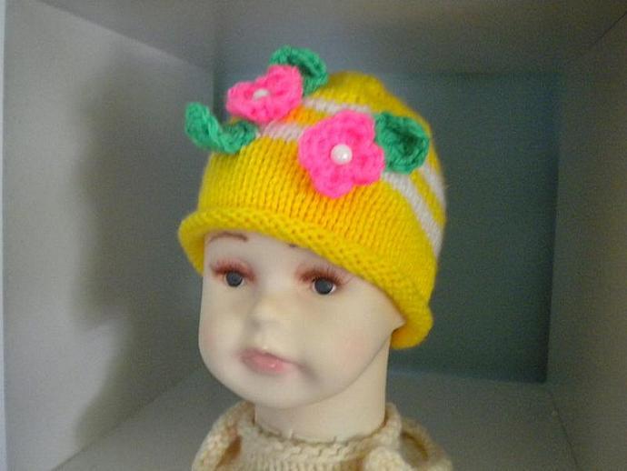 Bright Yellow Newborn Flower Beanie