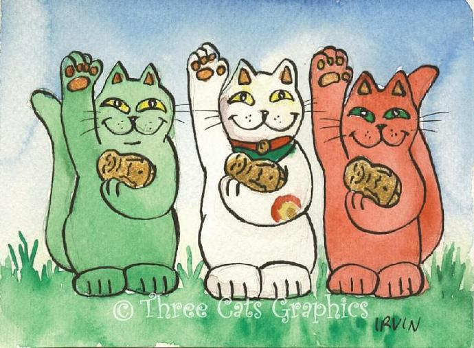 To Health Luck and Protection From Demons Green White and Red Neko Lucky Cats