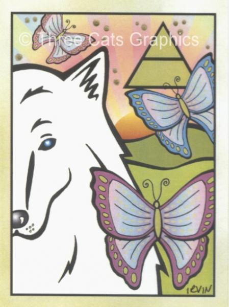 White Wolf East Symbolic Fetish Totem Animal Limited Edition ACEO Print