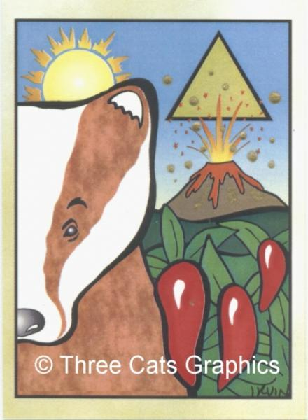 Red Badger East Symbolic Fetish Totem Animal Limited Edition ACEO Print