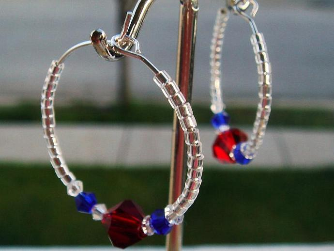 Red White & Blue Hoops Earrings