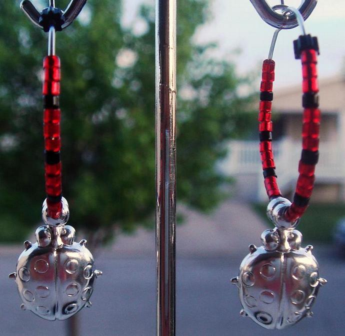 Ladybug Hoop Earrings