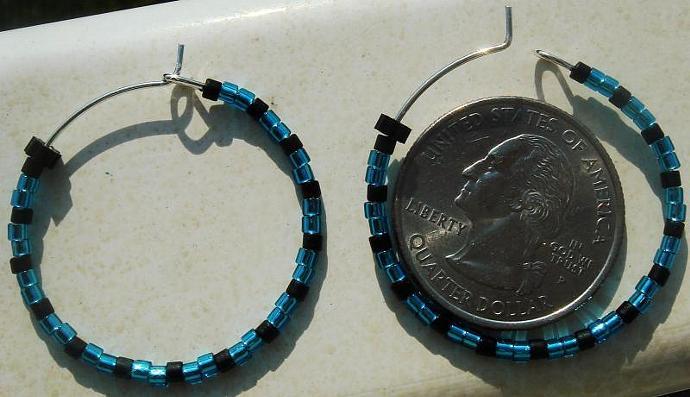 Turquois Blue & Black Hoop Earrings