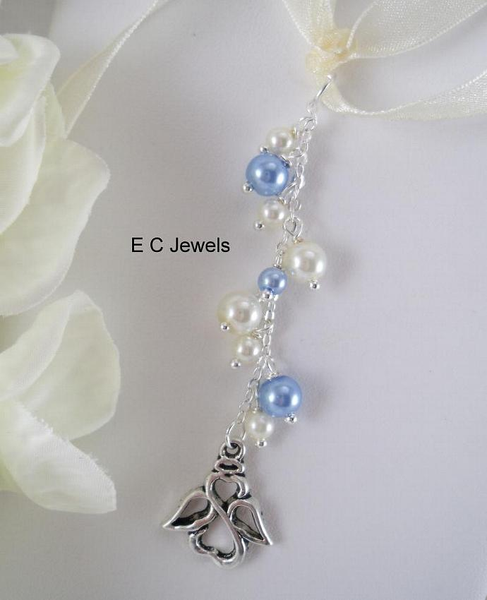 Angel Pearl Drop Bouquet Charm - Something Blue