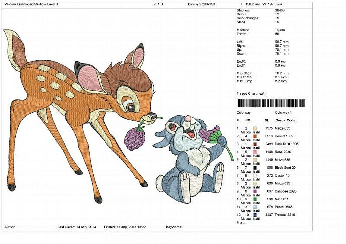 Embroidery Machine design file. Fawn Bambi and Thumper. Bambi. 4x4, 5x7, 6x10
