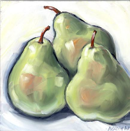 Pear Original Oil Painting on 6x6 in Panel Food Art