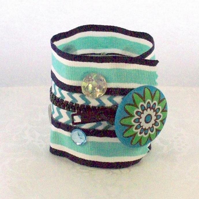 Zipper Bracelet Cuff, Aqua Chevron Bling