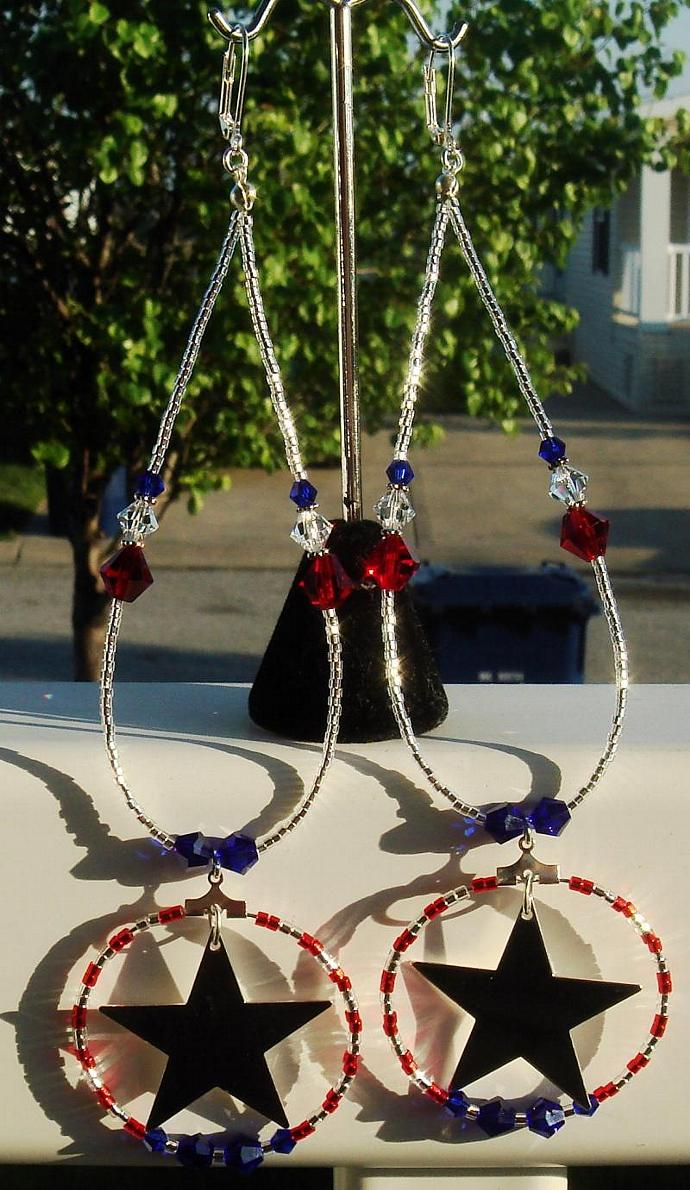 Red White & Blue Extra Large Dangly Hoop Earrings